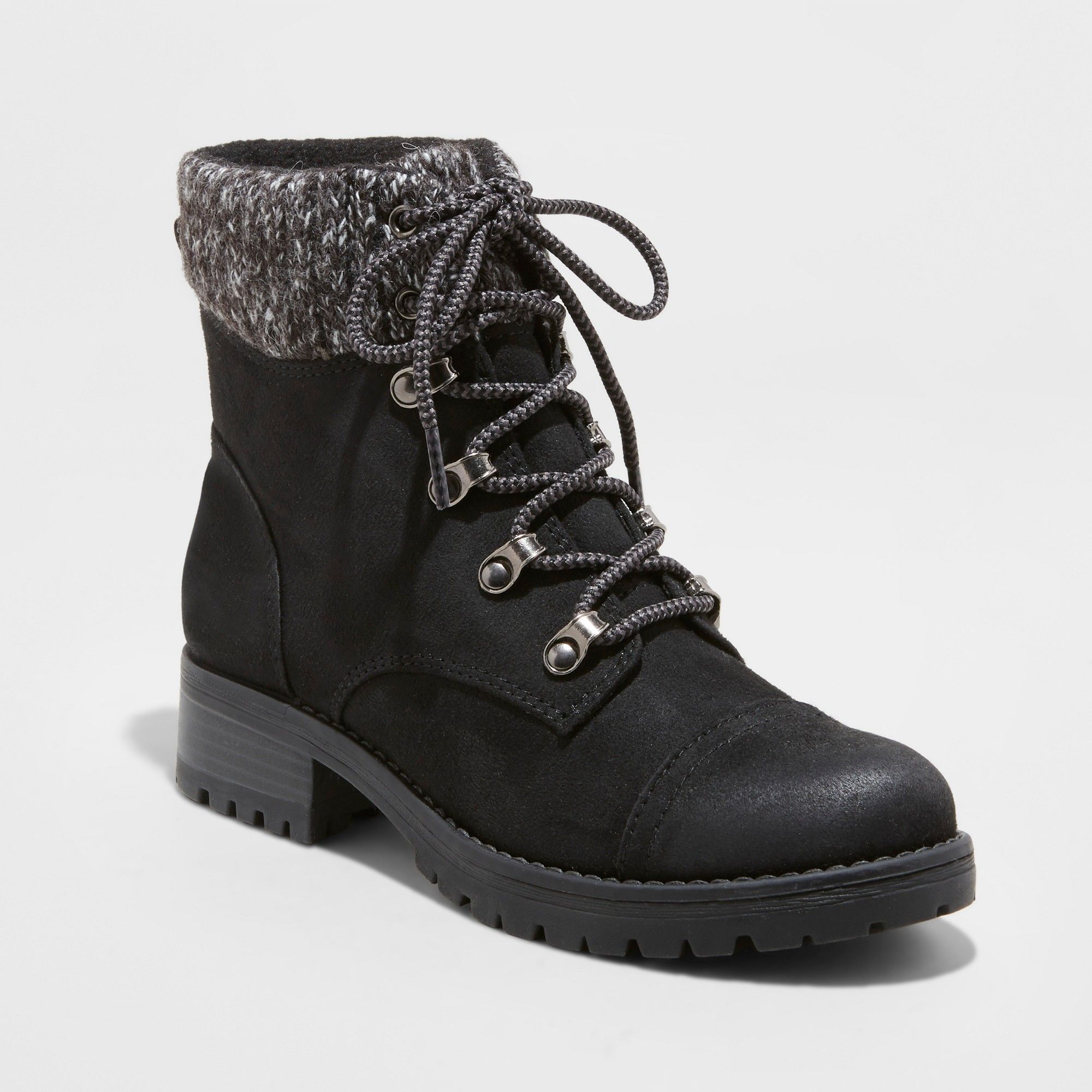 New Women Fold Over Faux Fur Shearling Lace Up Military