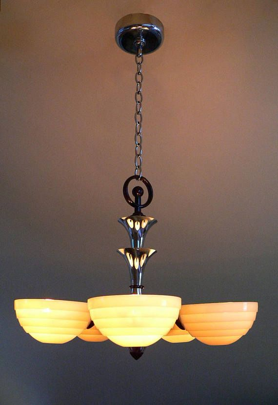 Antique Art Deco Slip Shades Chandelier By Lightolier From