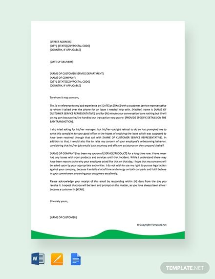 003 Free Simple Customer Service Complaint Letter Lettering