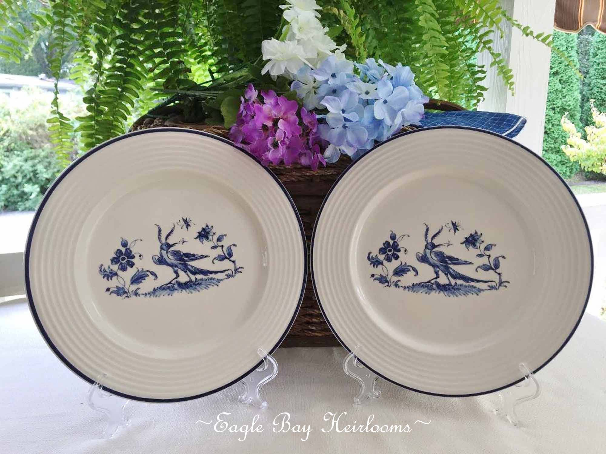 2 Varages French Pottery Faience Dinner Plates Oiseau Etsy French Pottery Blue Bird Charger Plates