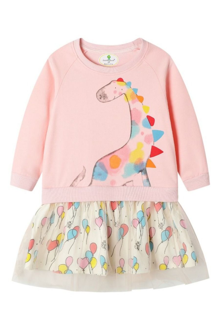 Toddler Baby Girl Clothes Dinosaur Unicorn Dress Cotton Long Sleeve Outfits