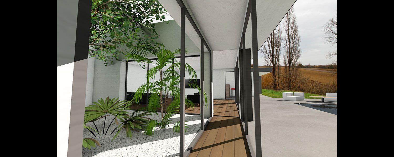 Maison Avec Passerelle Intérieure atelier scenario architectes - passerelle vitrée et patio