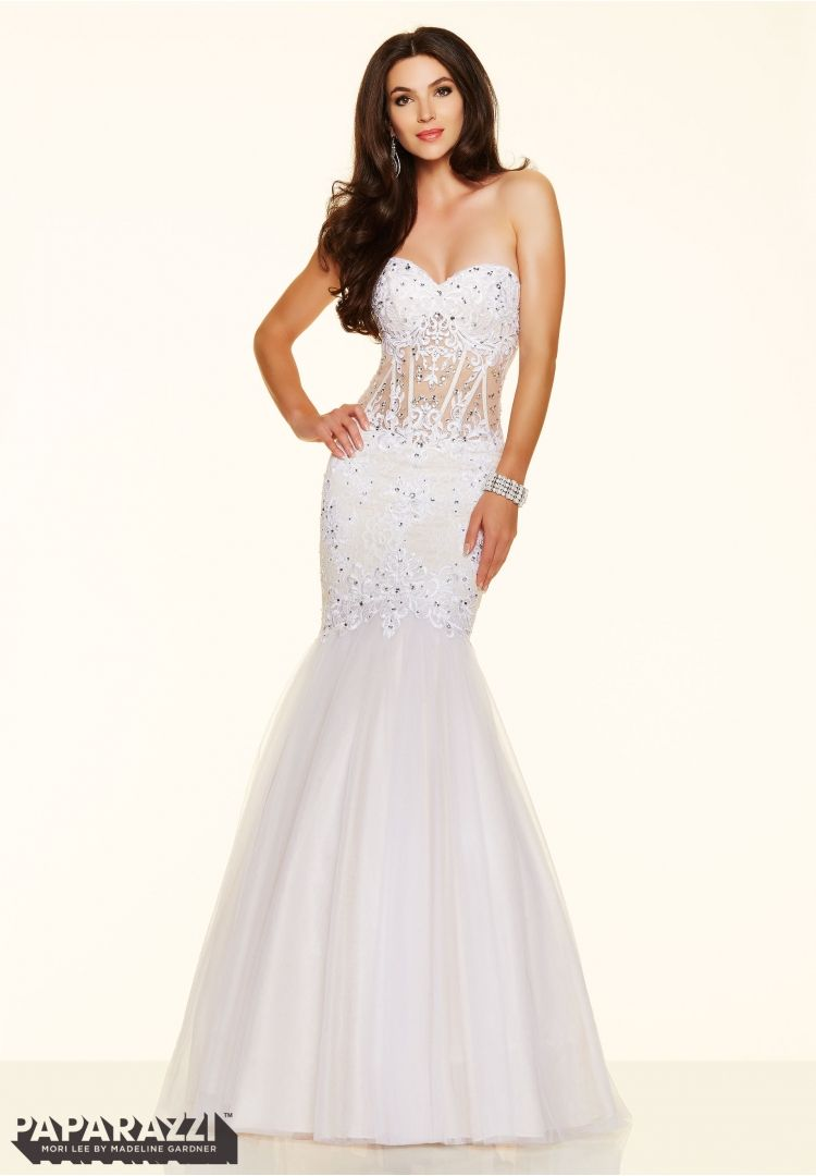 Prom dresses by Paparazzi Prom Beaded Lace and Tulle Zipper Back Closure. Colors Available: Champagne, White