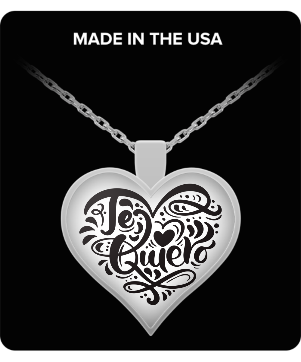Heart Pendant with Necklace TE QUIERO I LOVE YOU makes a great Valentine s Day gift for Birthdays Heart Pendant with Necklace TE QUIERO I LOVE YOU makes a great Valentine...