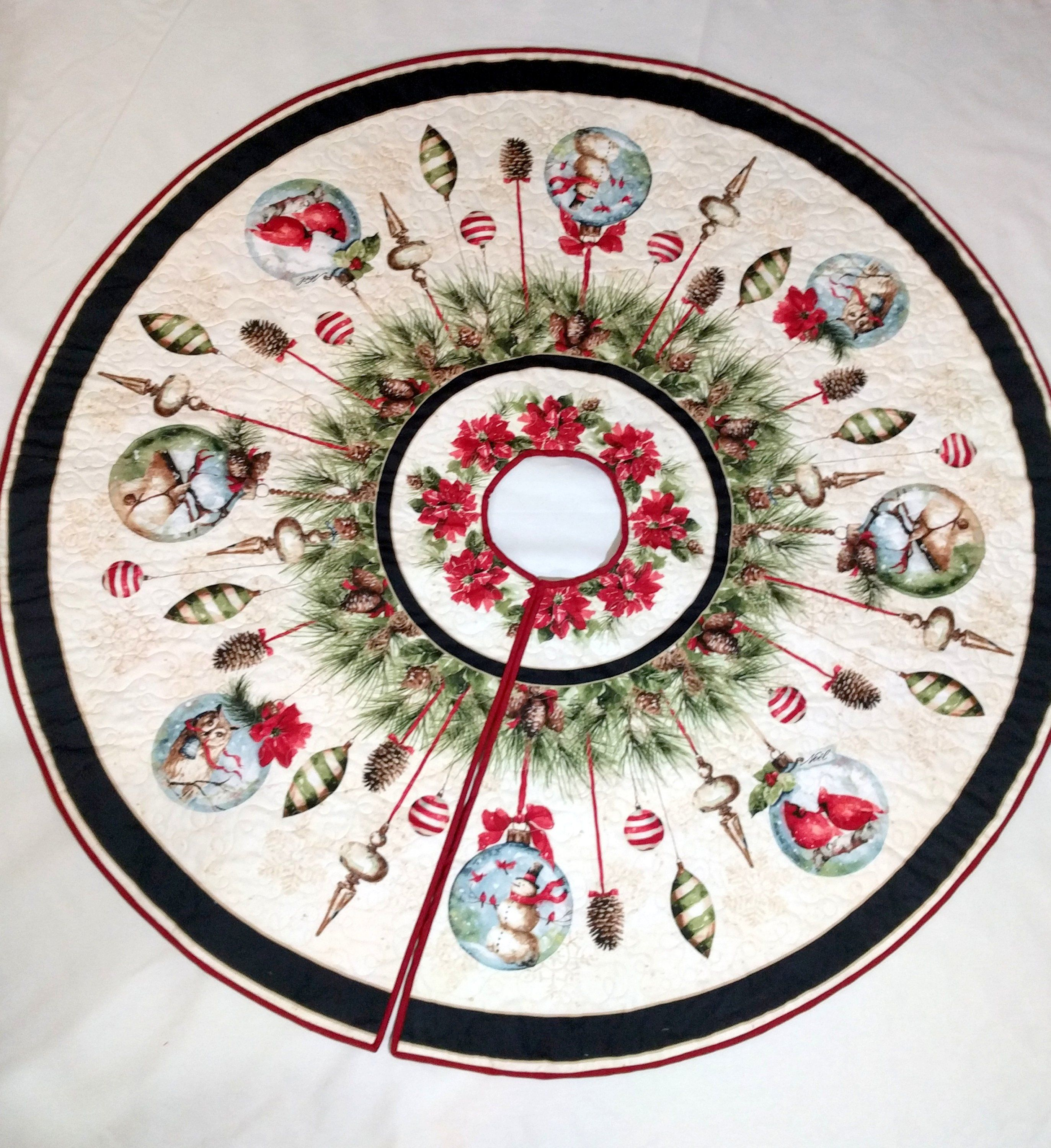 Handmade Round Appliqued Christmas Table Topper Felted Wool Bright Ornaments