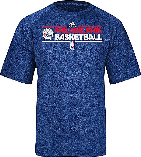 Phildelphia 76ers Adidas New Authentic On-Court Practice Climalite  Performance SS T Shirt $29.95