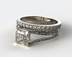 *a modified version of this might go great with my band! but i think it would be so gorg if the middle diamond -around it- was rose gold and halo also.Split Shank Pave Engagement Ring& Y121 by Danhov Wedding Band