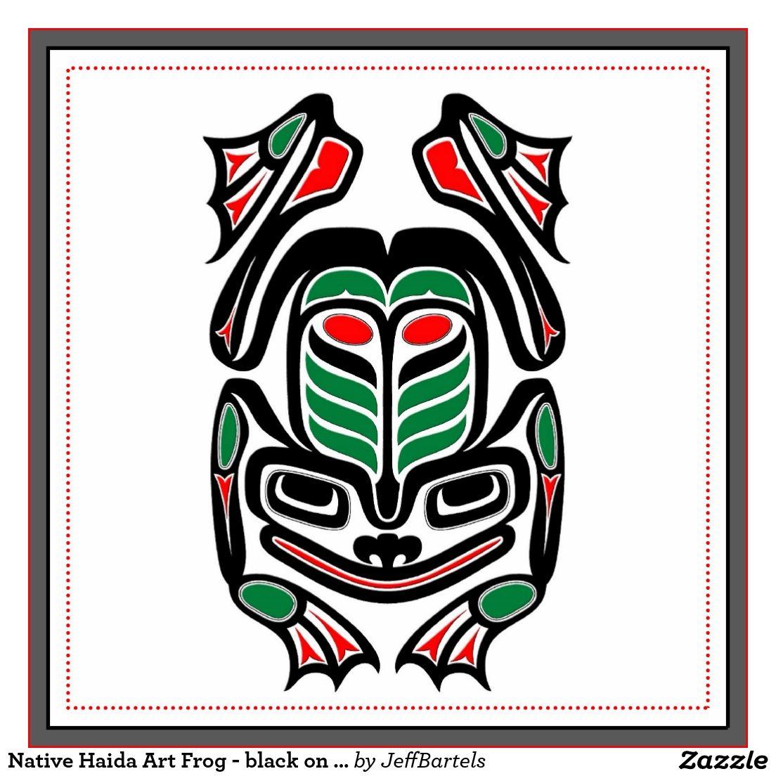 Native Haida Art Frog - black on white Tile | Vorlagen und Ideen