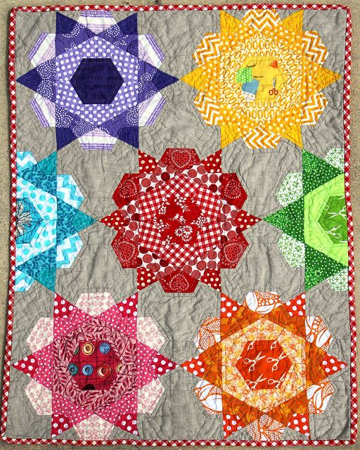 Rose Star Quilt Paper Piecing Quilts Bright Quilts Hexagon Quilt