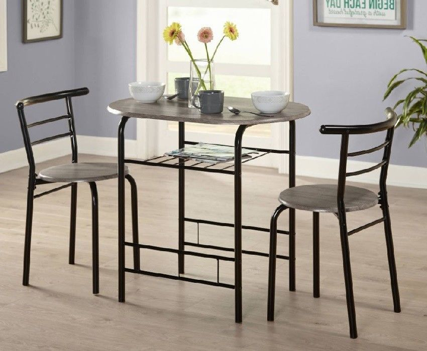Kitchen Dinette 3Pc Dining Set High Table 2 Chairs Grey ...