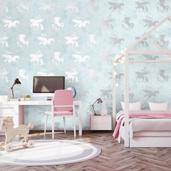 Best Over The Rainbow Iridescent Unicorns Wallpaper Teal 400 x 300