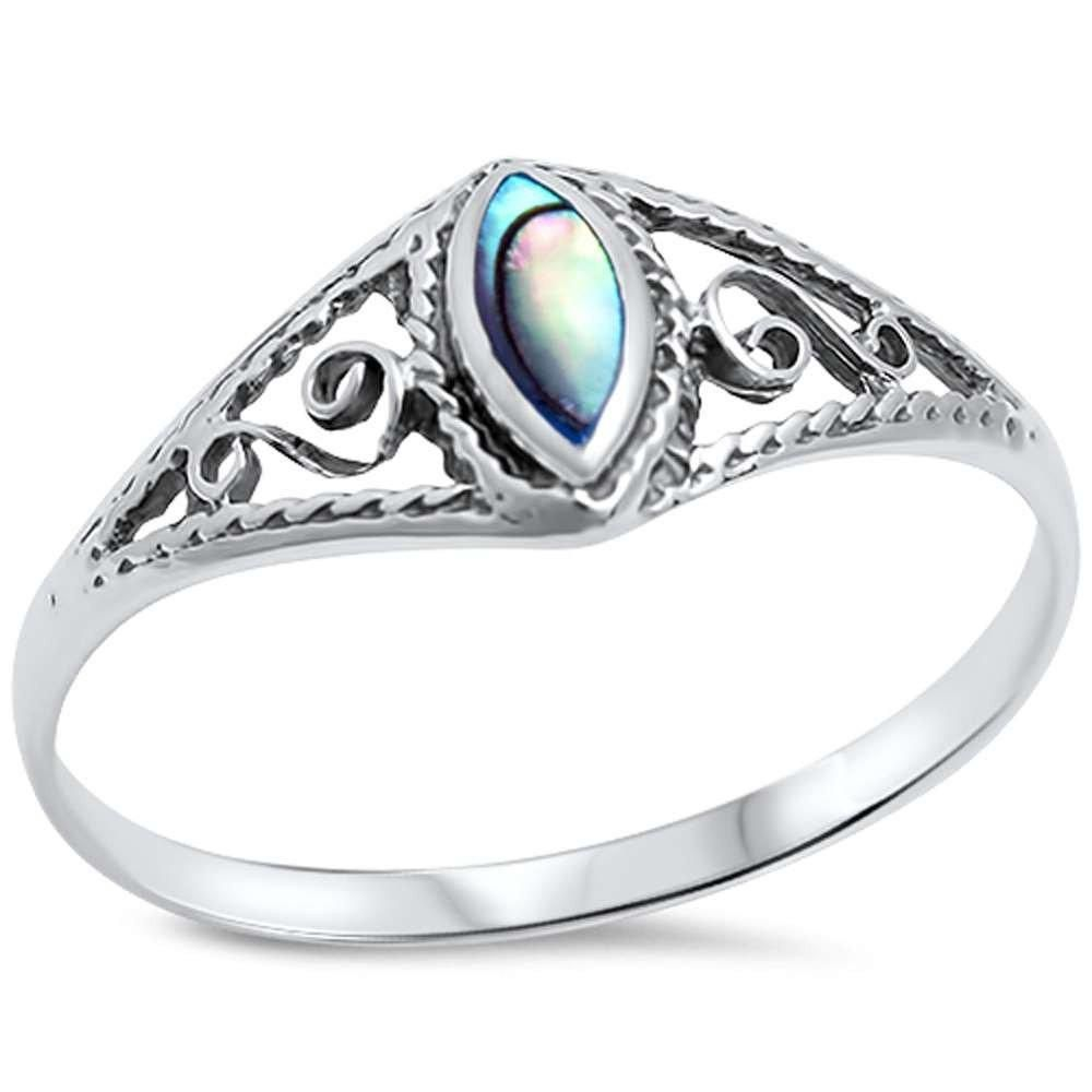 Abalone Filigree .925 Sterling Silver Ring sizes 5-10