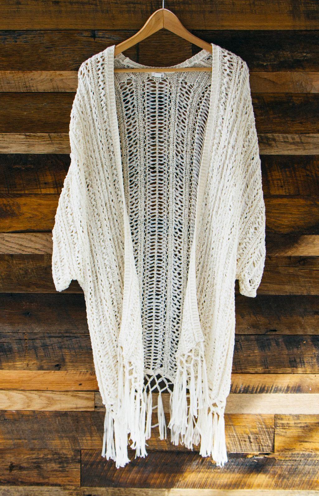 Fringe Crochet Kimono. … | Crochet kimono, Crochet clothes