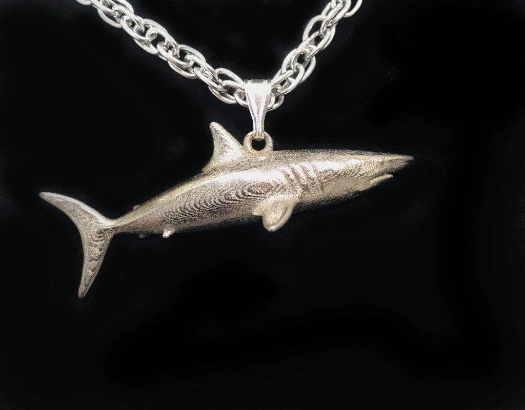 Handmade. Shark Necklace Sterling Silver Tribal Design Hammerhead