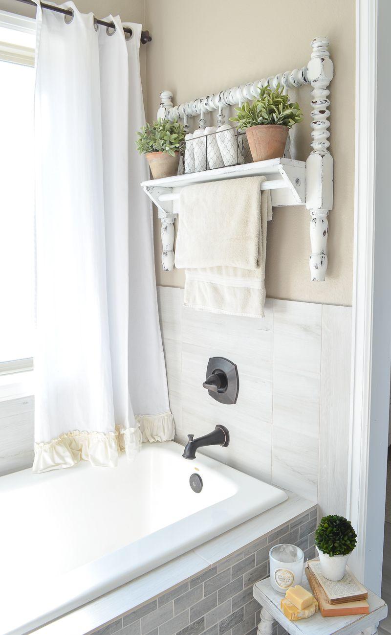 DIY Towel Bar from Vintage Bed Frame Bathroom Ideas