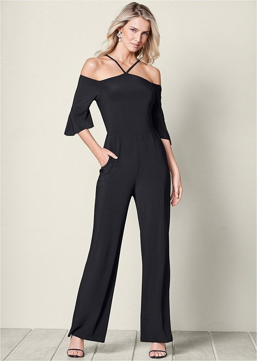 b7a79d41568 Venus Women s Neck Detail Jumpsuit Jumpsuits   Rompers - Black
