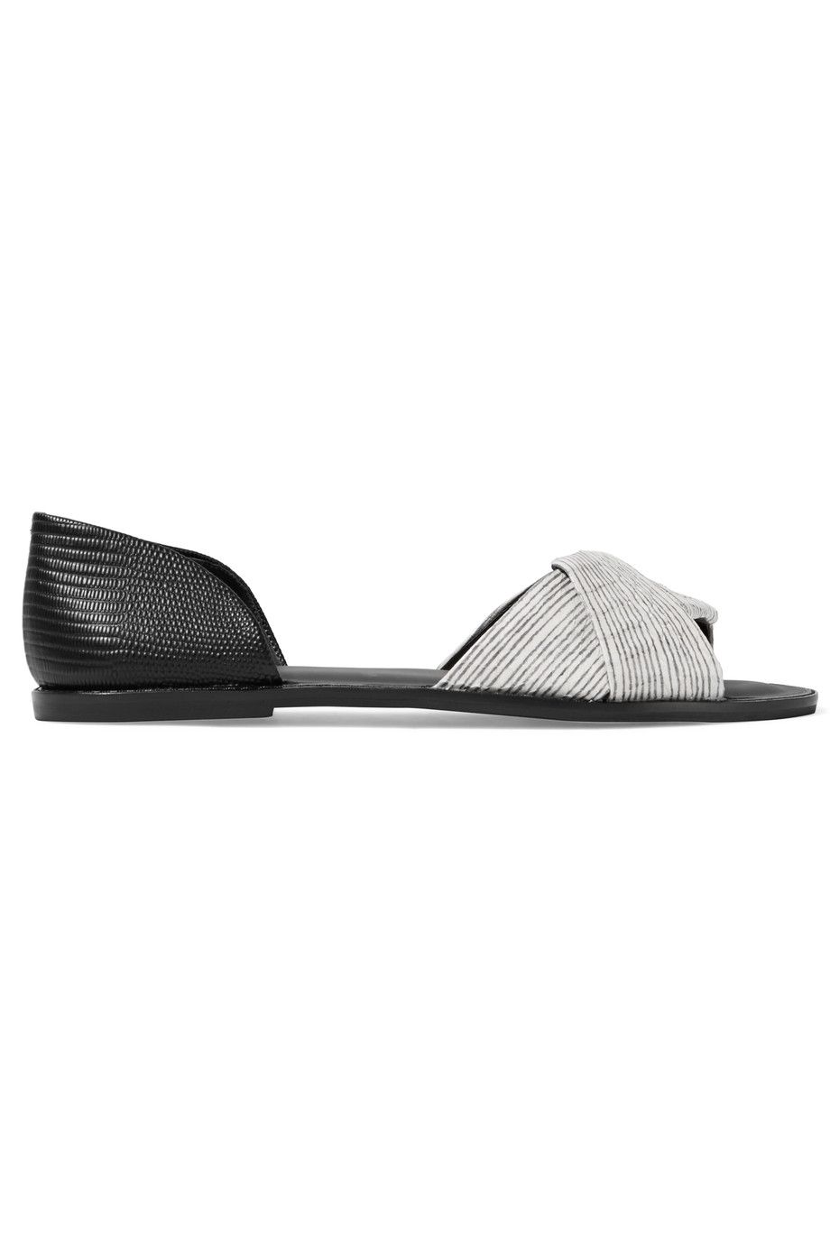 VINCE Idara printed elaphe and lizard-effect leather sandals. #vince #shoes #sandals