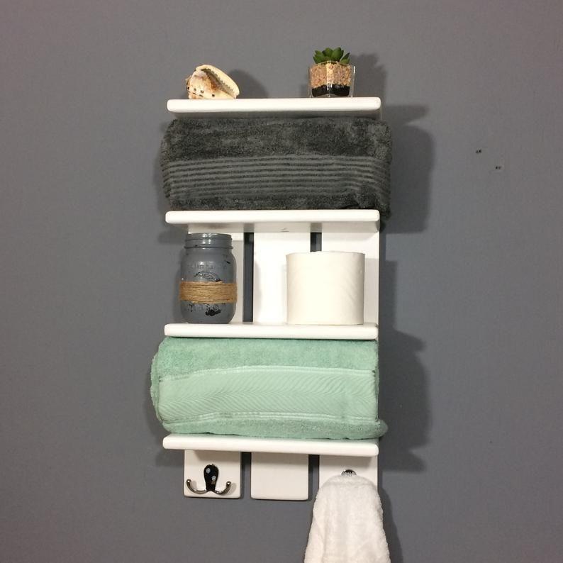 White Coastal Towel Rack With Hooks Bathroom Shelf With Etsy In 2020 Bathroom Shelves For Towels Towel Rack White Wall Shelves