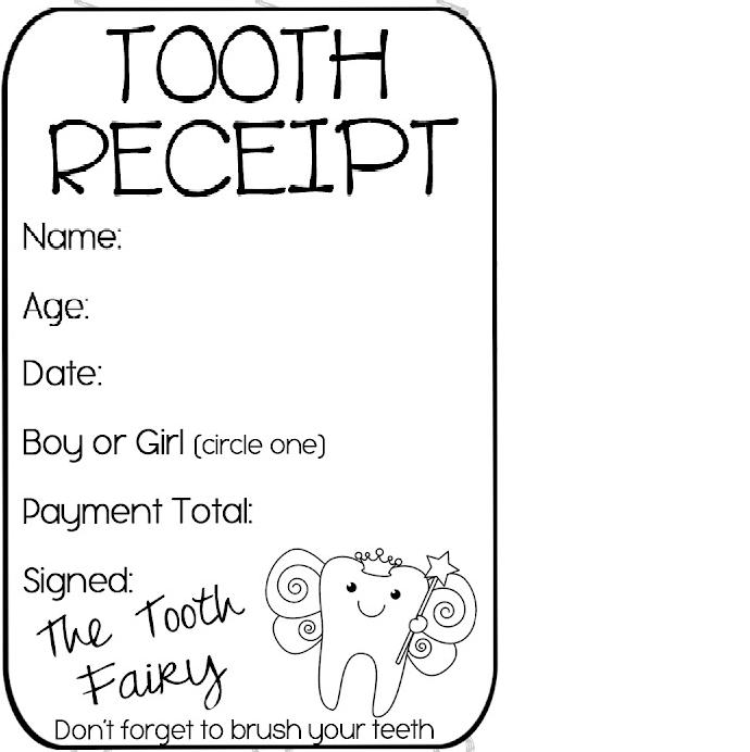 tooth receipt  free printable
