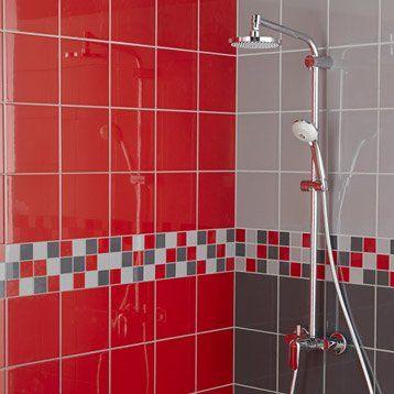 Faïence mur rouge rouge, Astuce l20 x L20 cm Salle de bain