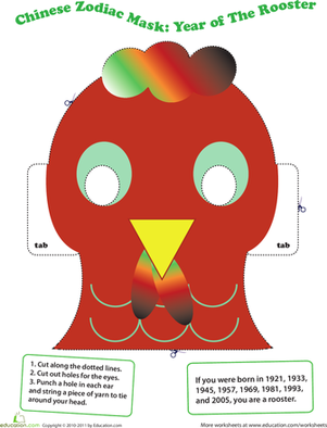 make a chinese zodiac mask year of the rooster chinese zodiac worksheets and kindergarten. Black Bedroom Furniture Sets. Home Design Ideas