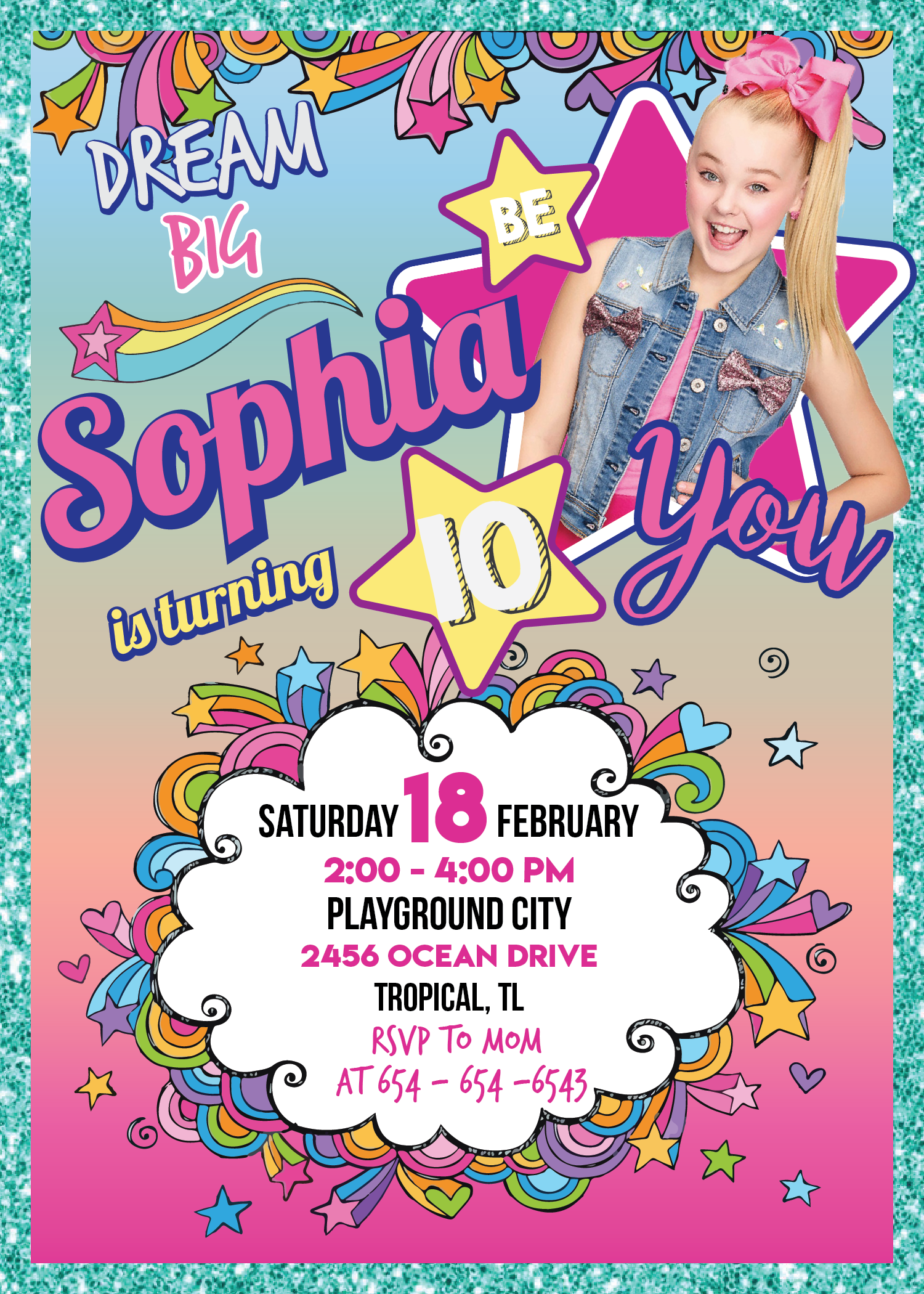 6c361a68cdf Jojo Siwa Printable Invitation (Customized) in 2019