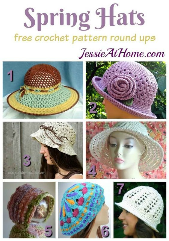 Free Crochet Spring Hat Patterns | Jessie At Home: | Knitting ...