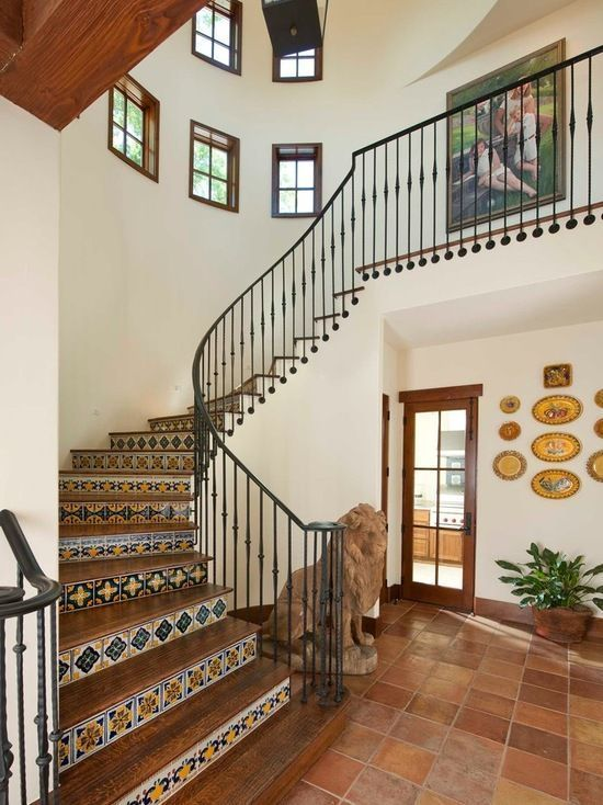 Classically Spanish entry way, tile stairs, grand stair ...