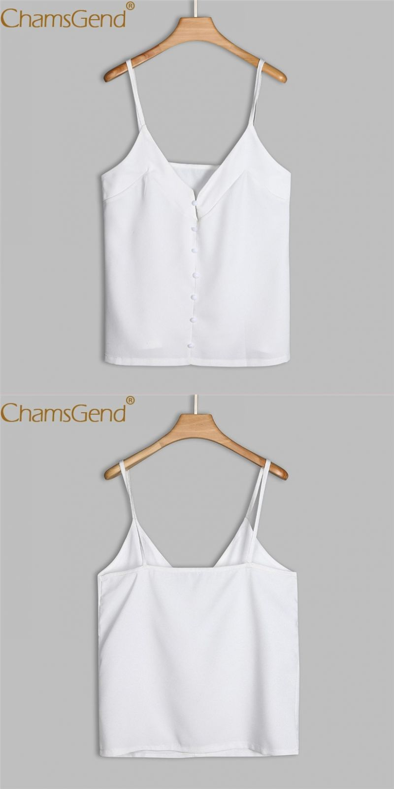 cc3806beb73d8 Shirt women sexy white v neck chiffon camis ol basic blouse tops 80320   polyester