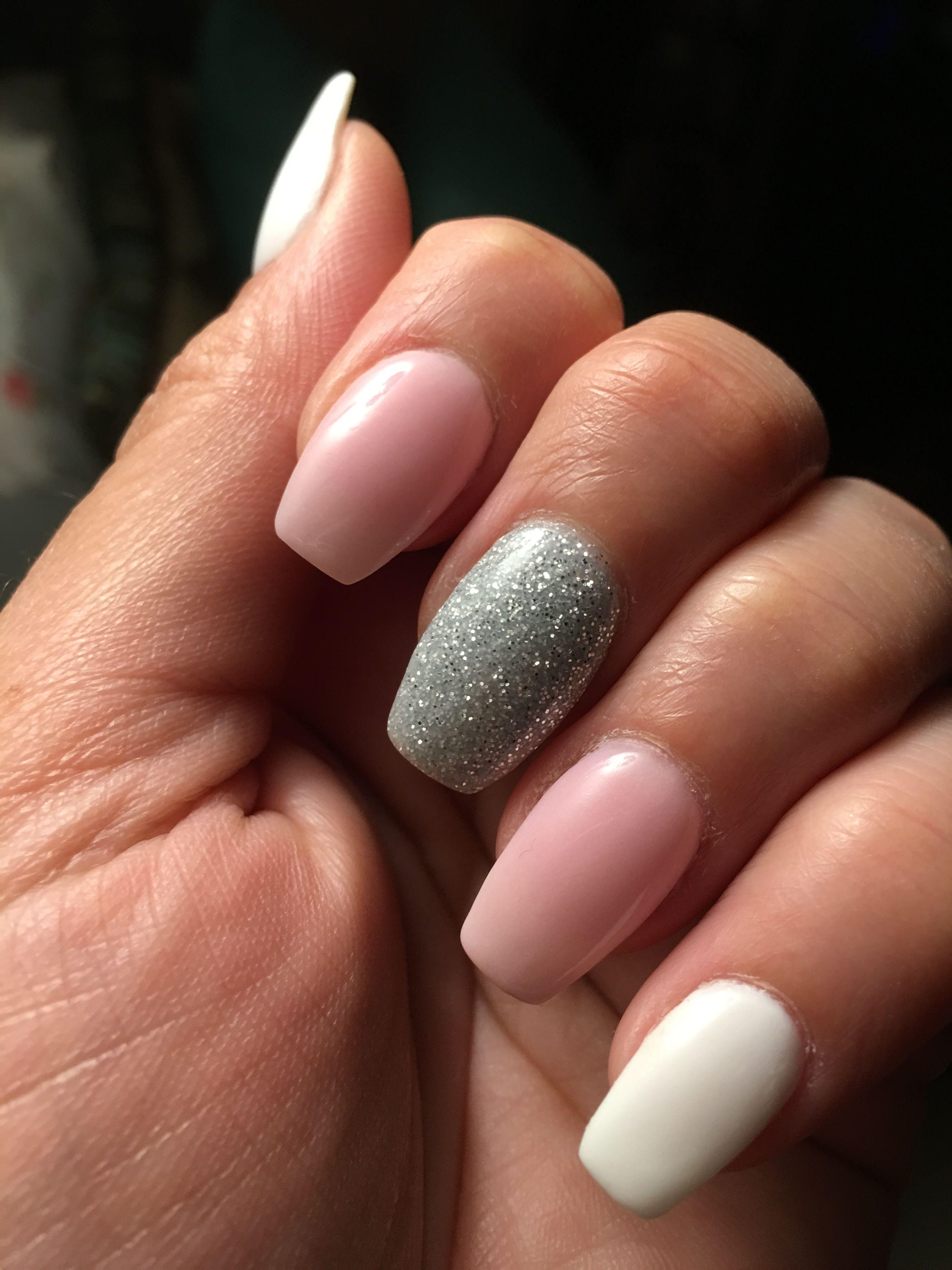 Nexgen Pink White Silver Glitter Coffin Nails