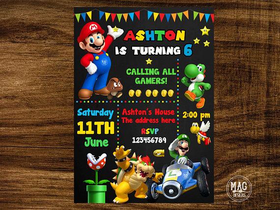 Mario Bros Invitation Mario Bros Birthday Invitation Mario Bros