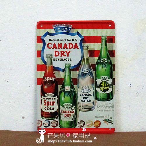 Canada Dry Soda Cola Bar Rustic Retro Metal Decor Sign