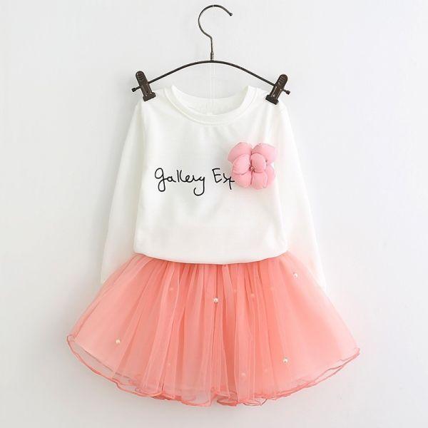 c0080a9eec Conjunto Fashio Meninas - Camisa Branca e Saia Tule Rosa com Strass 2-6  Anos.