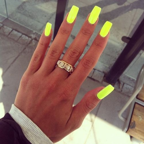 Bright Yellow Neon Gel Nails Tanned For More Findings Pls Visit