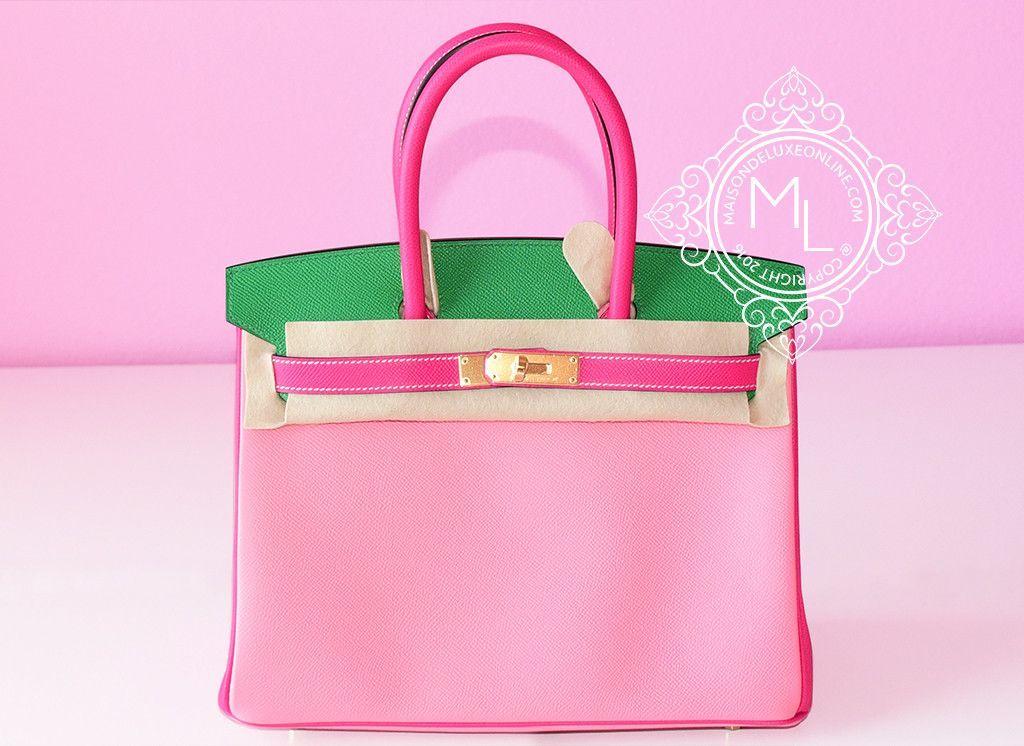 Hermes Pink Rose Confetti Rose Tyrien Bamboo (Bambou) Epsom Birkin 30 Handbag - New