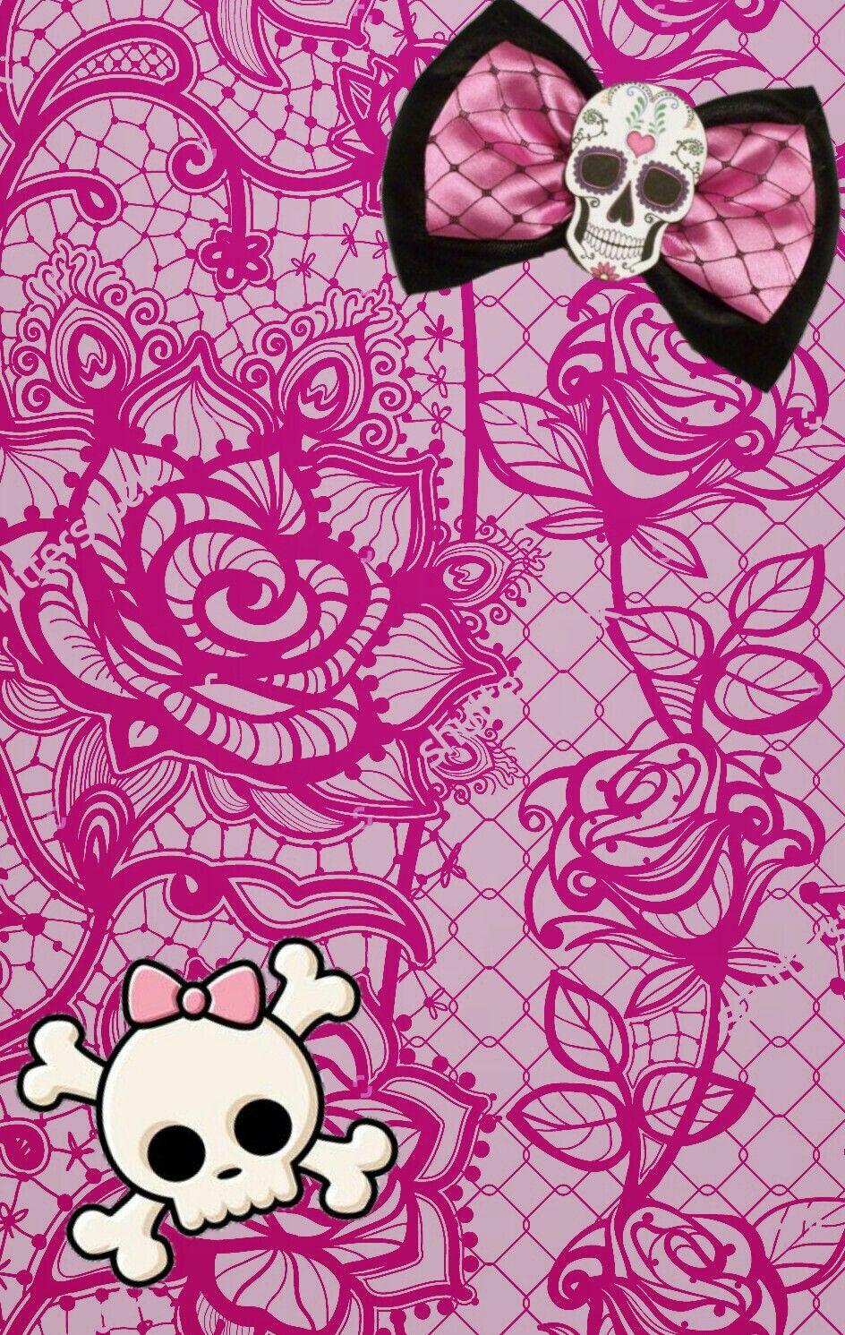 Pink Lace Skulls Skull Wallpaper Emo Girl Wallpaper Bow Wallpaper