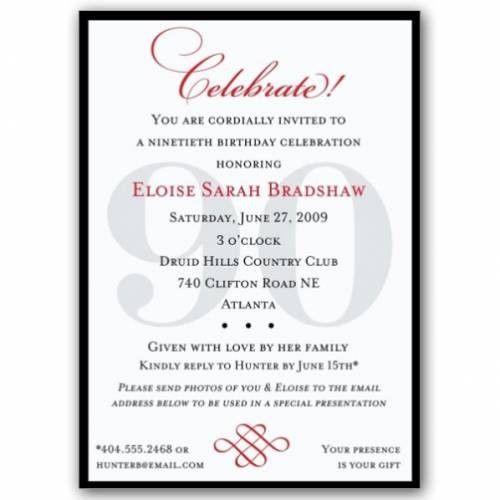 90th Birthday Invitation Wording Ideas