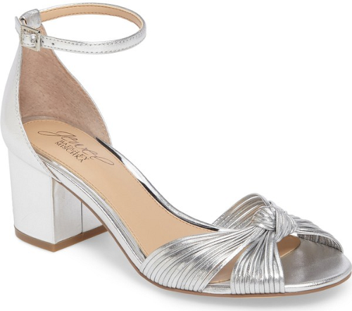 66792e760303 Knotted straps heighten the modern glamour of a metallic block-heel pump  topped with a slender ankle strap..  shoes fashion style stylish trendy