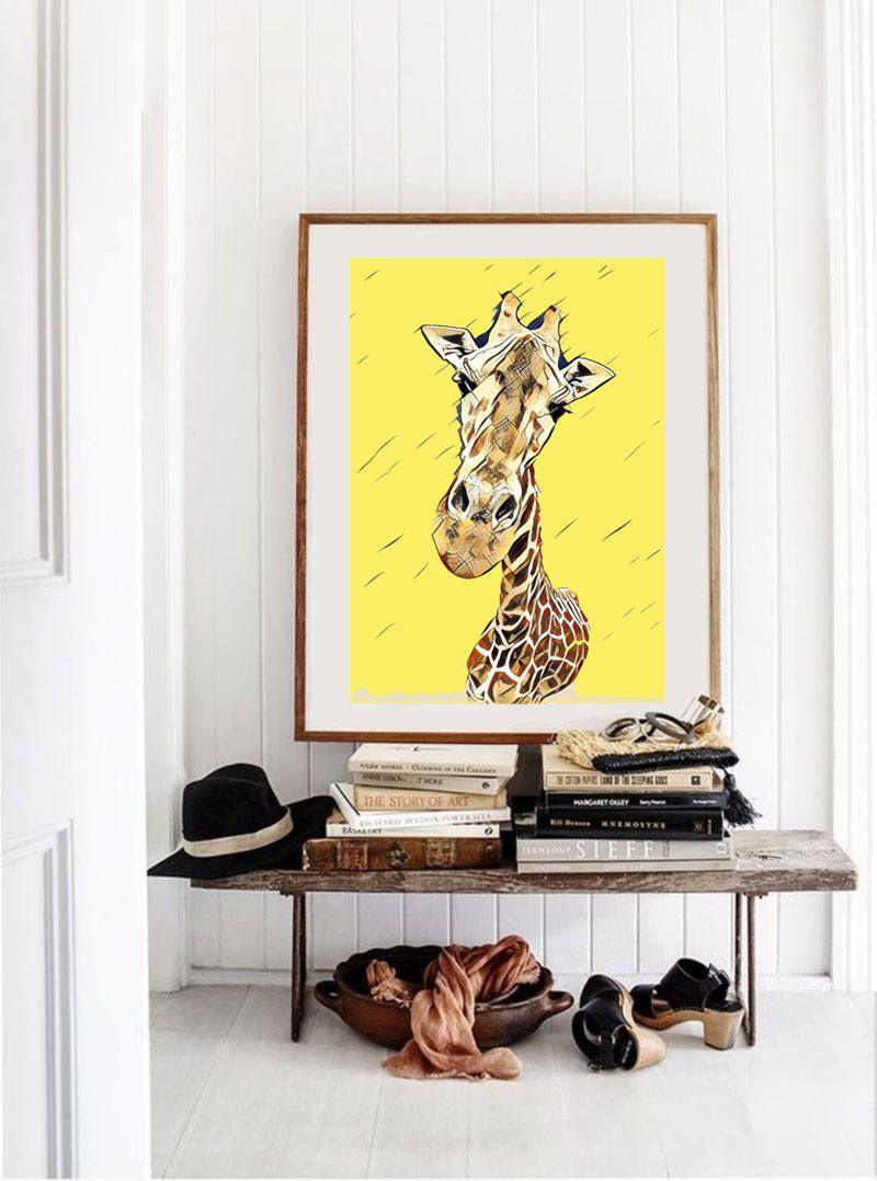 Giraffe Wall Art, Safari Nursery Art, Giraffe Art For Kids, Animal ...