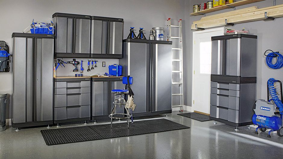 kobalt garage storage and epoxy floor garage ideas garage rh pinterest com
