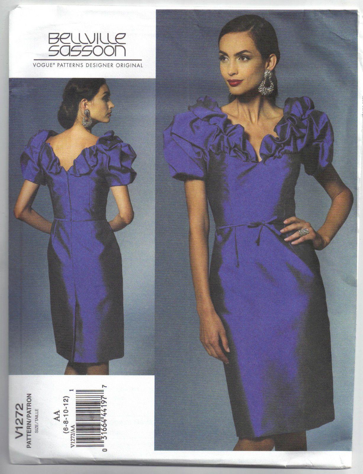 Tea length wedding dress patterns to sew  V Bellville Sassoon Evening Bridal Formal Dress     Vogue