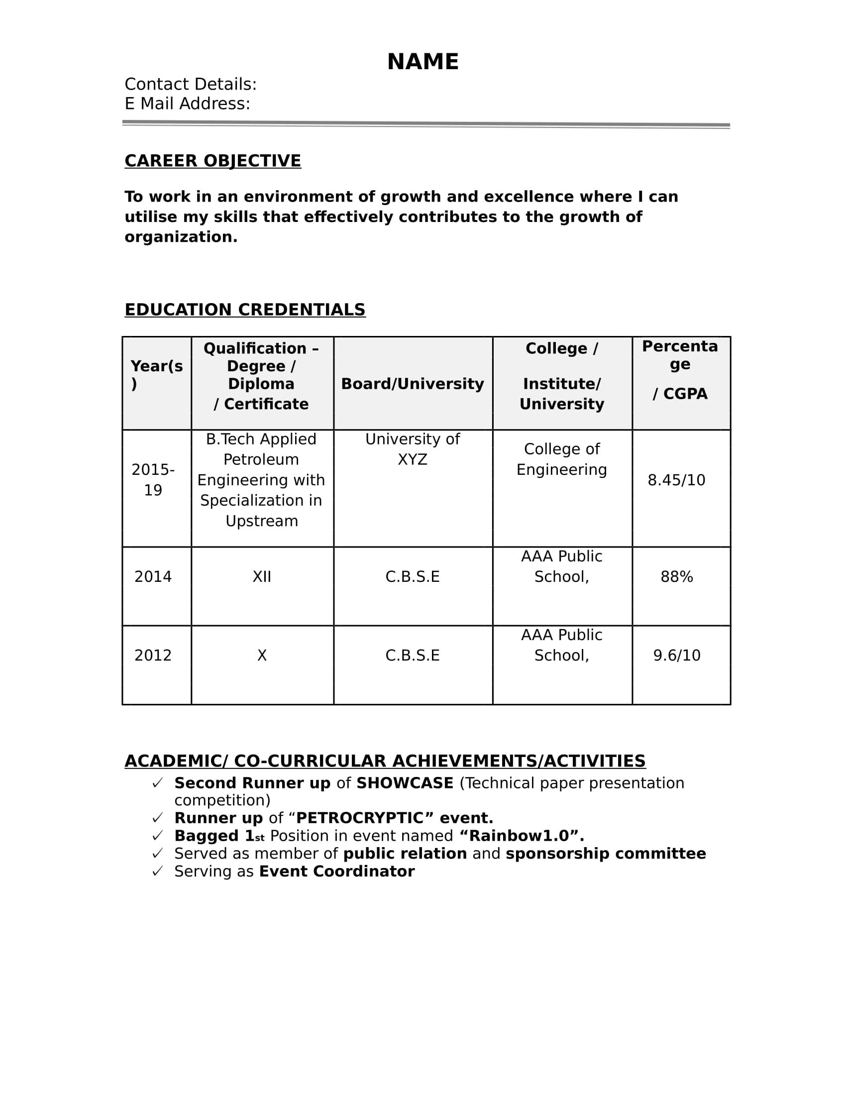 32 Resume Templates For Freshers Download Free Word Format