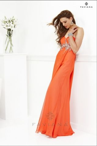 Prom dress option. Mango tan dress from Faviana.