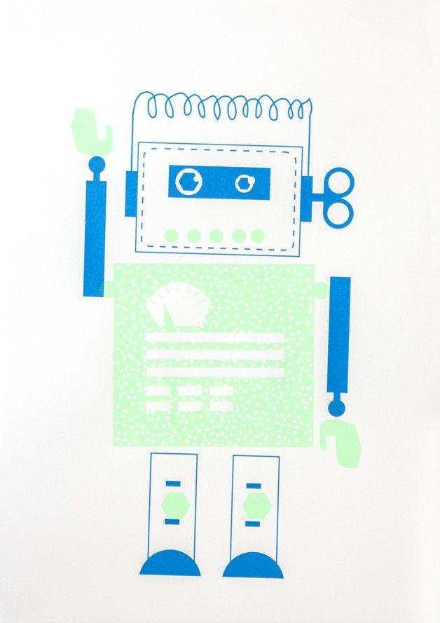 Siebdruck - Roboter Siebdruck Poster A3 Zukunft Kinder Robot - ein Designerstück von Morkebla bei DaWanda