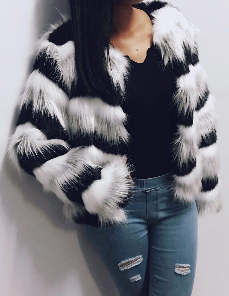 Winter Womens Long Sleeve Faux Fur Furry Coat Jacket Overcoat Mixed Color Stripe
