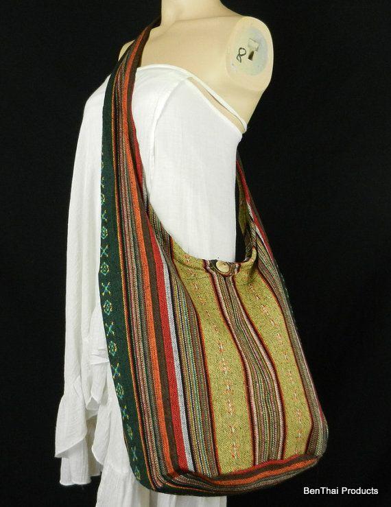 Hand Woven Cotton Bag Purse Hobo Hippie Sling Crossbody Messenger ...