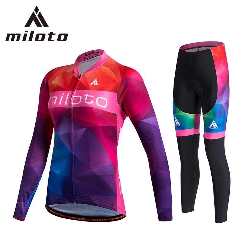 541e4a548 Miloto Team Pro Cycling Jersey Sets Women Long Sleeve Bicycle Mtb Bike Wear  Clothing ropa ciclismo Cycling Jersey Gel Pants Set