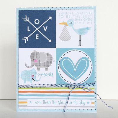 Bella Blvd Cute Baby Boy collection. Cute Boy card by creative team member Wendy Antenucci.