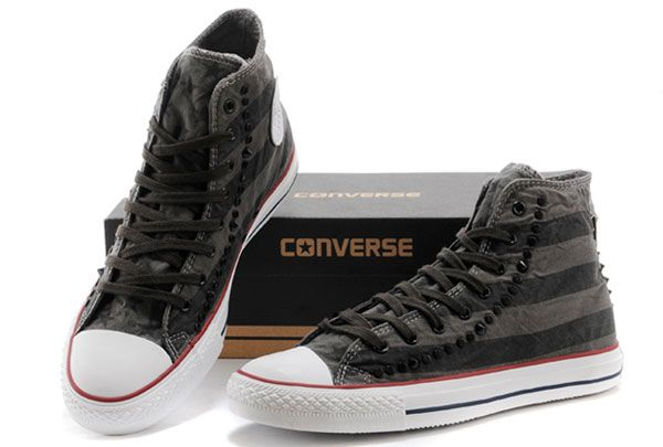 cd6451b3375 Vintage Studded Converse American Flag Rock Black Grey Chuck Taylor All  Star High Tops Sneakers  converse  shoes