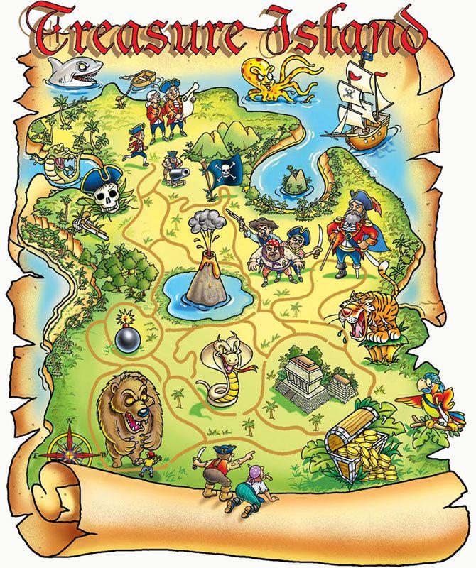 Treasure Map Treasure island map, Pirate treasure maps